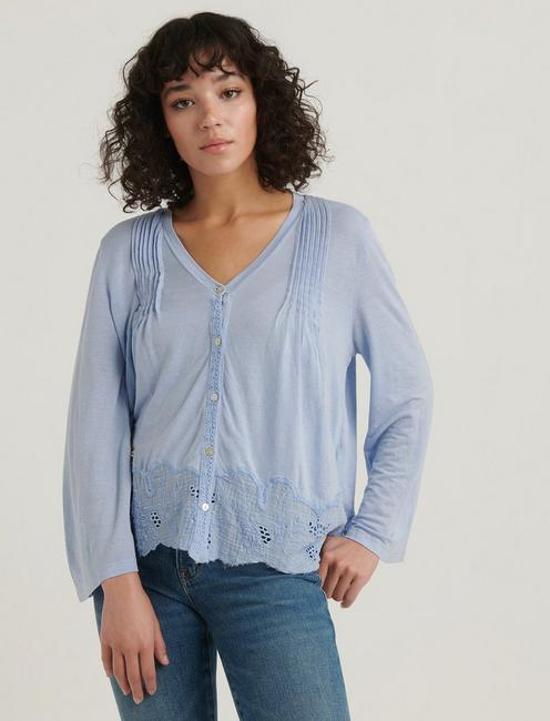 LACE TRIM BUTTON DOWN TOP, SKYWAY