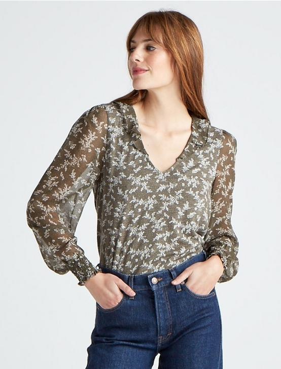 MIXED MEDIA V NECK TOP, OLIVE MULTI, productTileDesktop