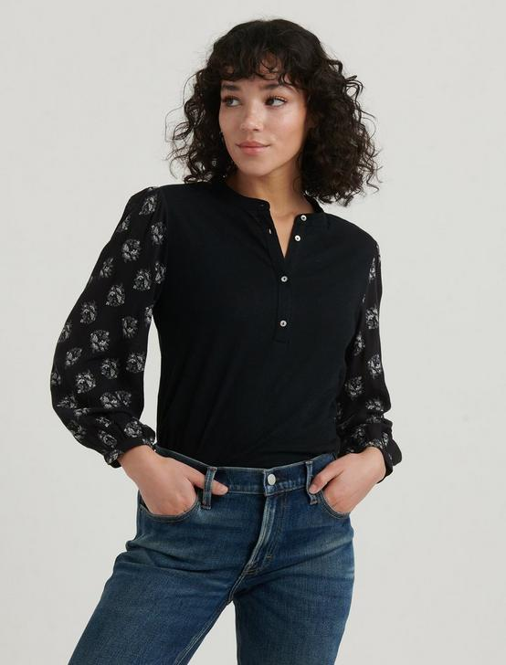 PRINTED SLEEVE HENLEY, BLACK MULTI, productTileDesktop
