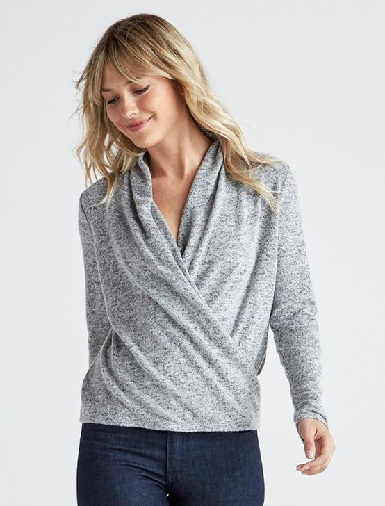 CLOUD JERSEY WRAP TOP, HEATHER GREY, productTileDesktop