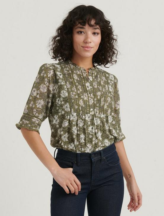 PRINTED MIXED MEDIA BLOUSE, OLIVE MULTI, productTileDesktop