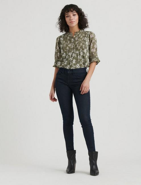 PRINTED MIXED MEDIA BLOUSE, OLIVE MULTI