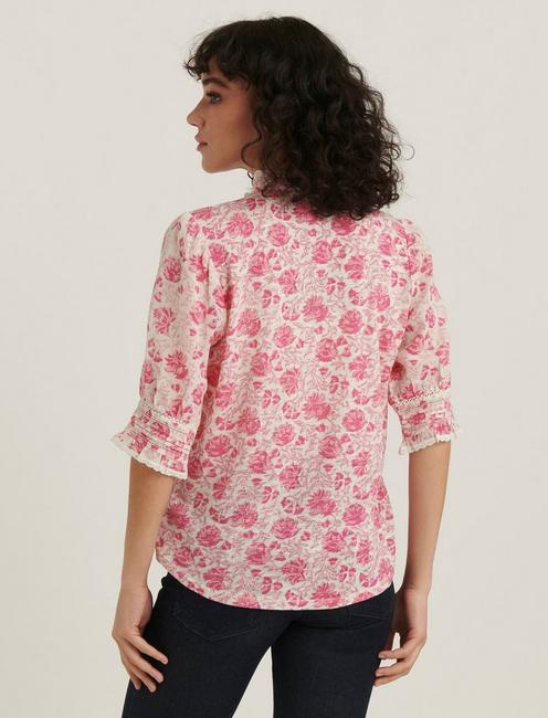 PRINTED MIXED MEDIA BLOUSE, PINK MULTI