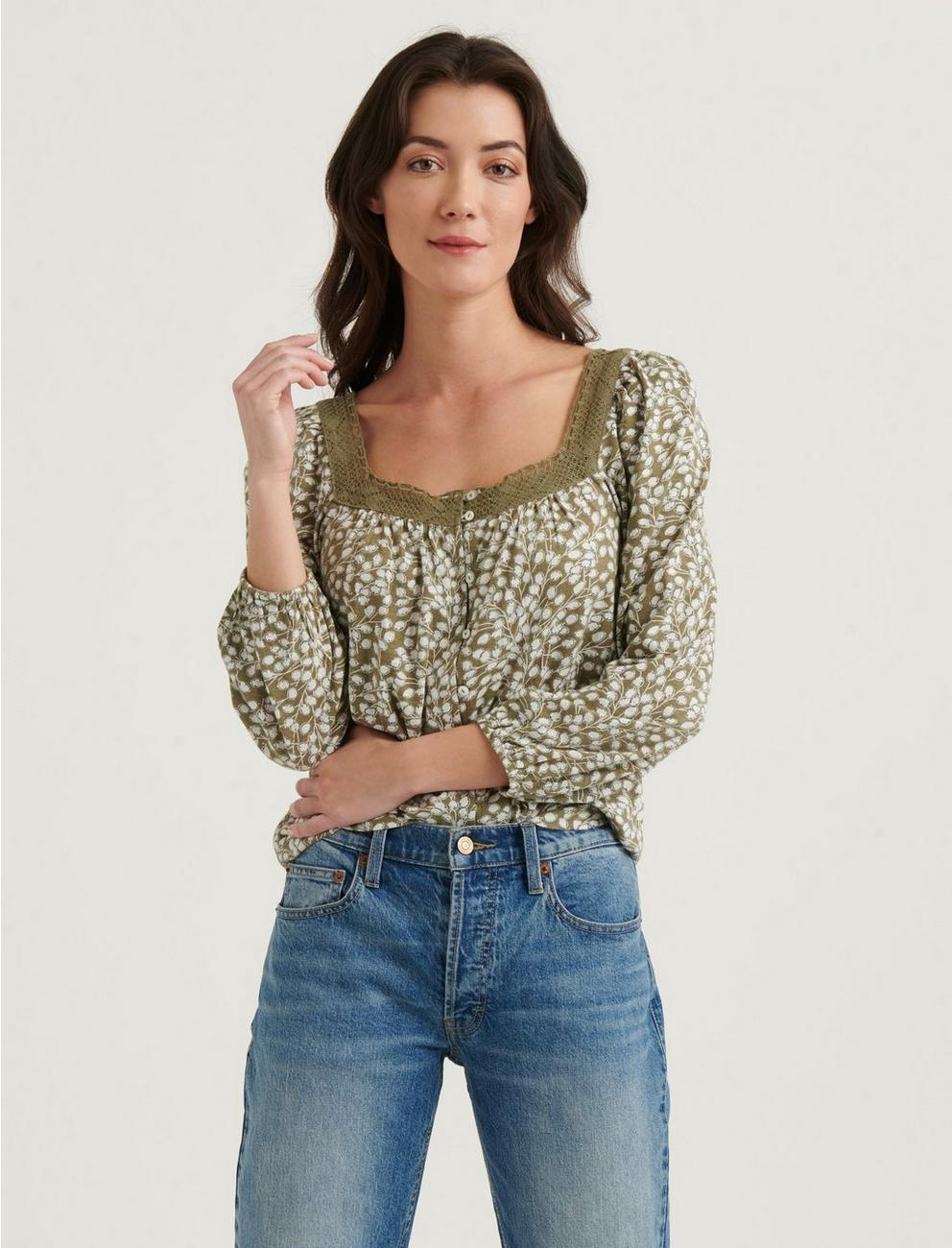 PRINTED SQUARE NECK TOP,