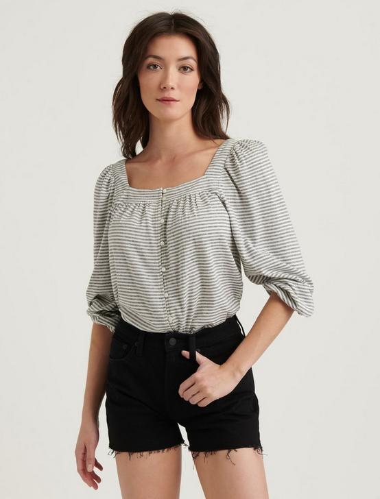 STRIPED SQUARE NECK TOP, BLACK STRIPE, productTileDesktop