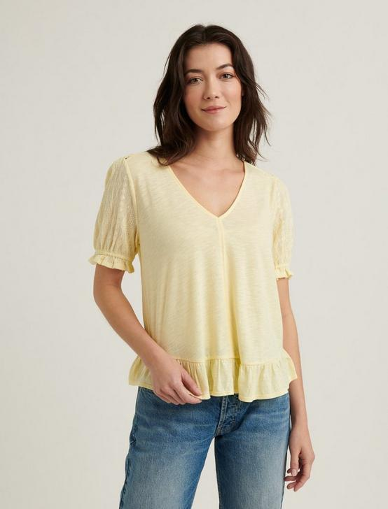 RUFFLE HEM TOP, DOUBLE CREAM, productTileDesktop