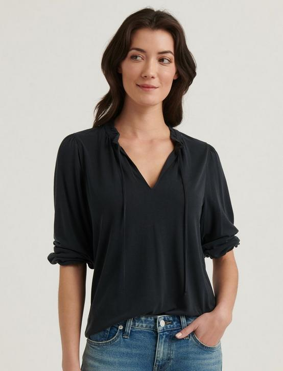 SANDWASH RUFFLED PEASANT TOP, 001 LUCKY BLACK, productTileDesktop
