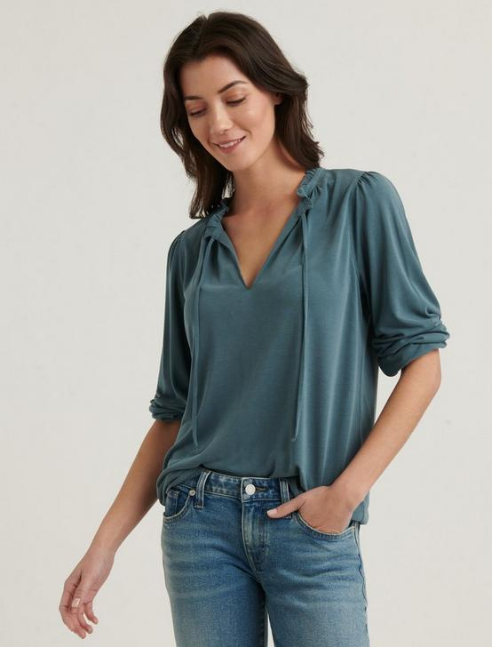 SANDWASH RUFFLED PEASANT TOP, NORTH ATLANTIC, productTileDesktop