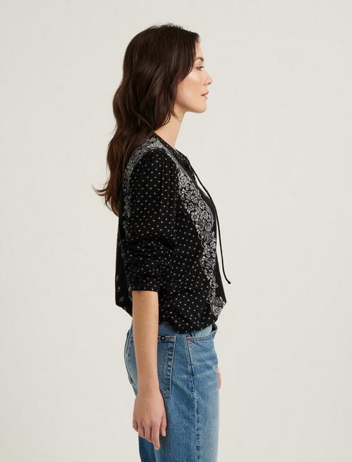 BORDER PRINT PEASANT TOP, BLACK MULTI