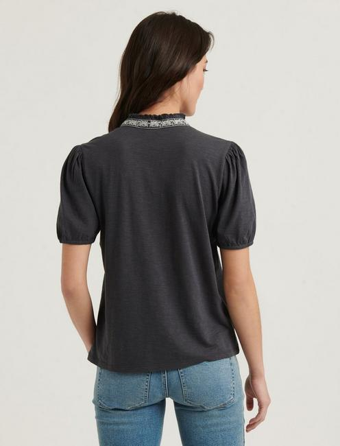 EMBROIDERED PLACKET TOP, GREY MULTI
