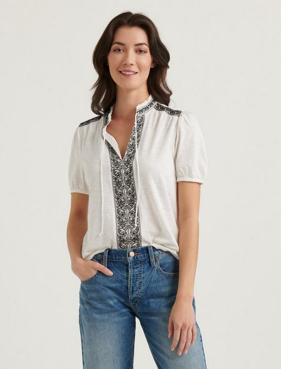 EMBROIDERED PLACKET TOP, LUCKY WHITE MULTI, productTileDesktop