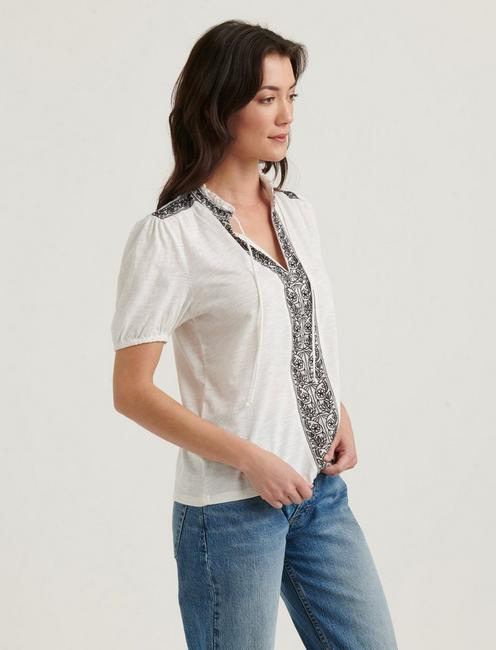 EMBROIDERED PLACKET TOP, LUCKY WHITE MULTI