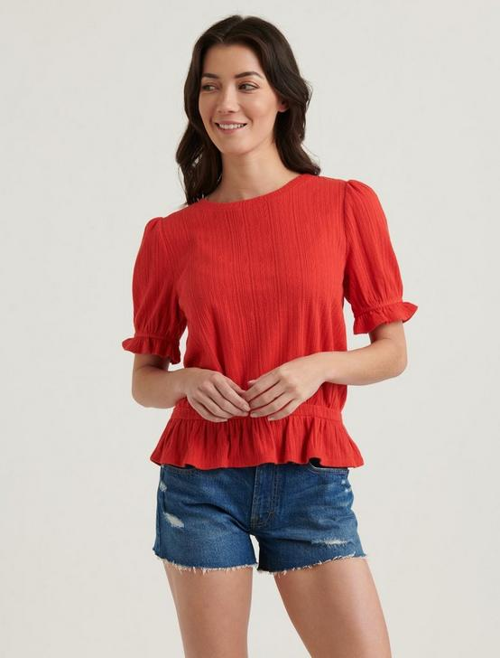 POINTELLE KNIT BANDED TOP, #6680 FIERY RED, productTileDesktop
