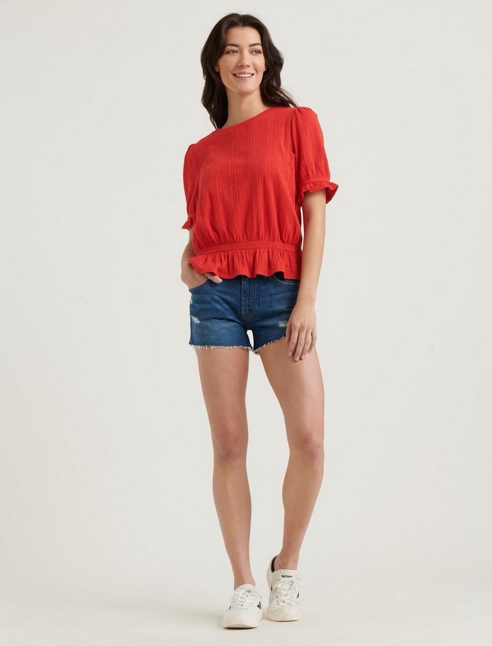 POINTELLE KNIT BANDED TOP, image 2