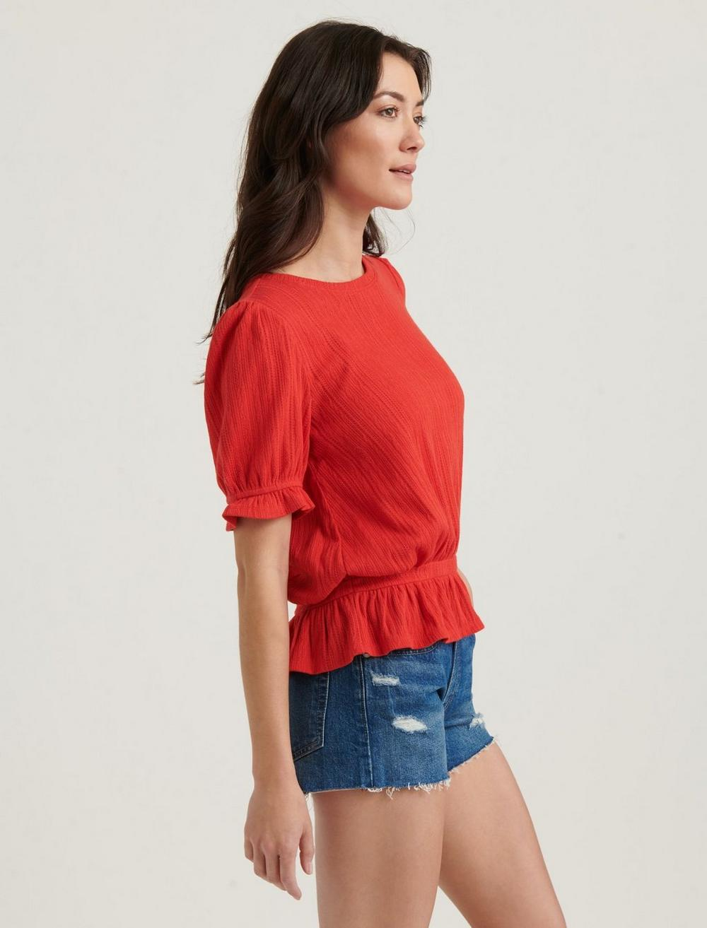 POINTELLE KNIT BANDED TOP, image 3