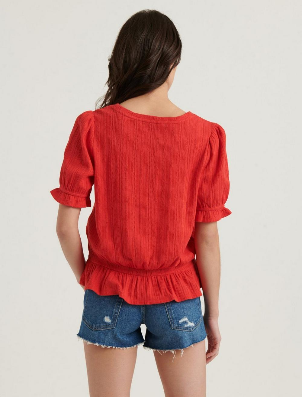 POINTELLE KNIT BANDED TOP, image 4