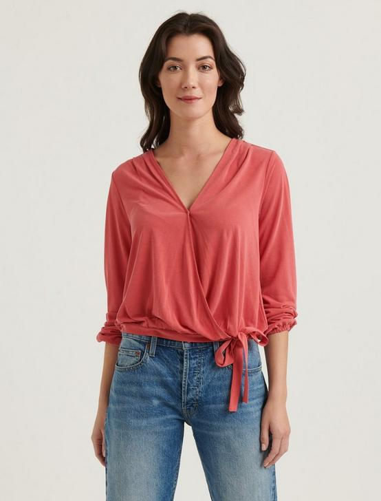 SAND WASH WRAP TOP, RED, productTileDesktop