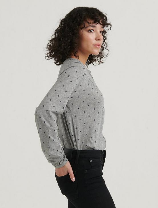 POLKA DOT WESTERN YOKE TOP, GREY MULTI, productTileDesktop