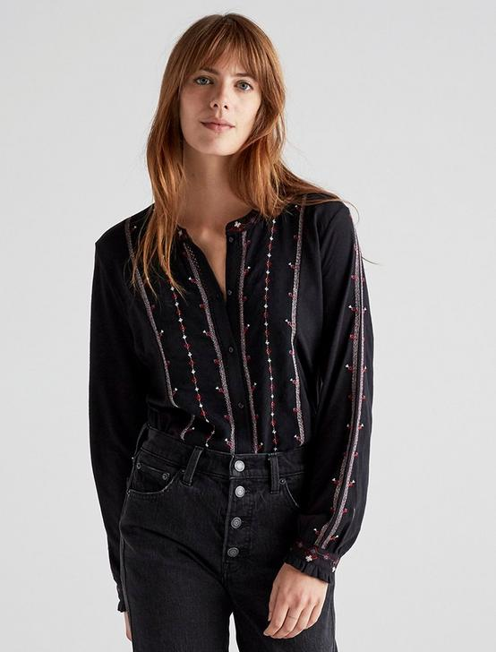EMBROIDERED BUTTON DOWN TOP, BLACK MULTI, productTileDesktop