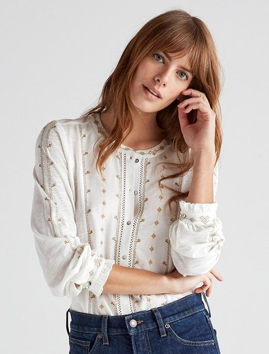 EMBROIDERED BUTTON DOWN TOP, CREAM MULTI, productTileDesktop
