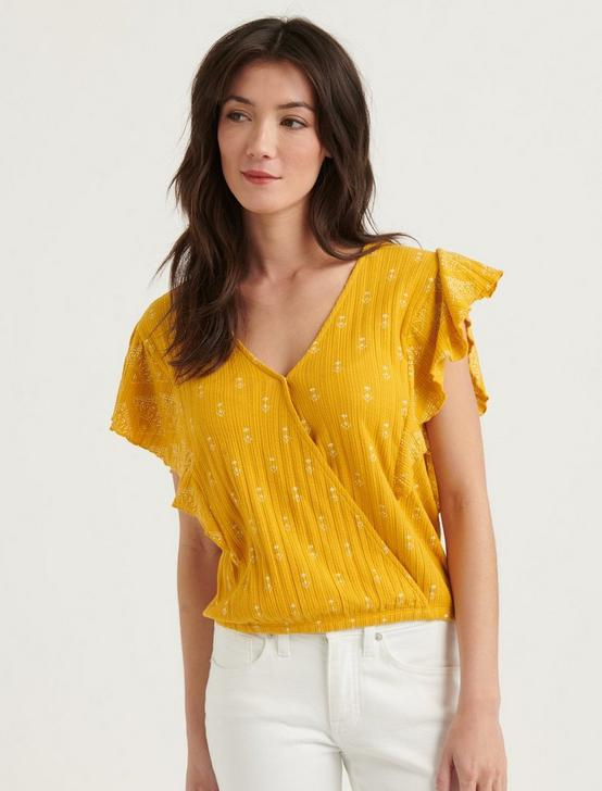 DROP NEEDLE RUFFLE TOP, YELLOW MULTI, productTileDesktop