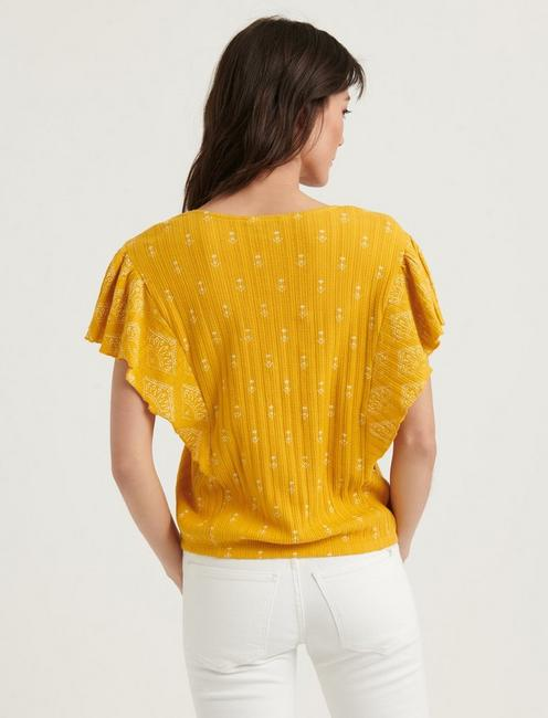 DROP NEEDLE RUFFLE TOP, YELLOW MULTI