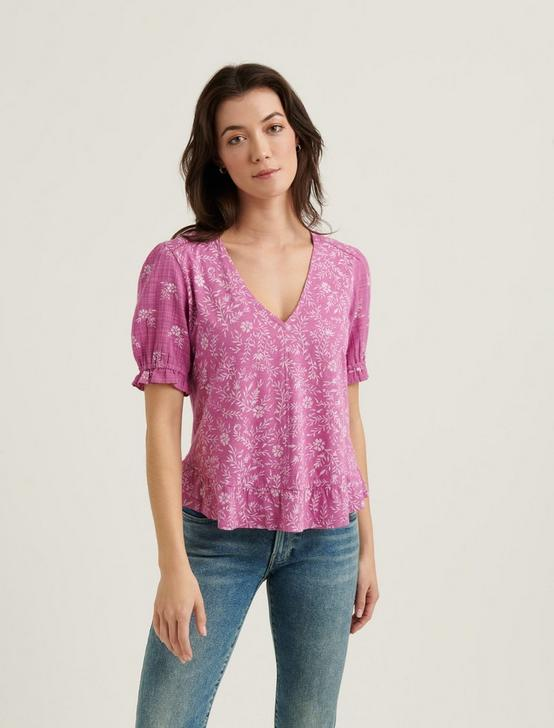 RUFFLE HEM TOP, PURPLE MULTI, productTileDesktop