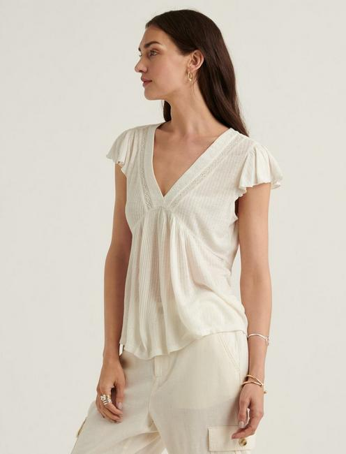 DROP NEEDLE V NECK EMBROIDERED TOP, MARSHMALLOW