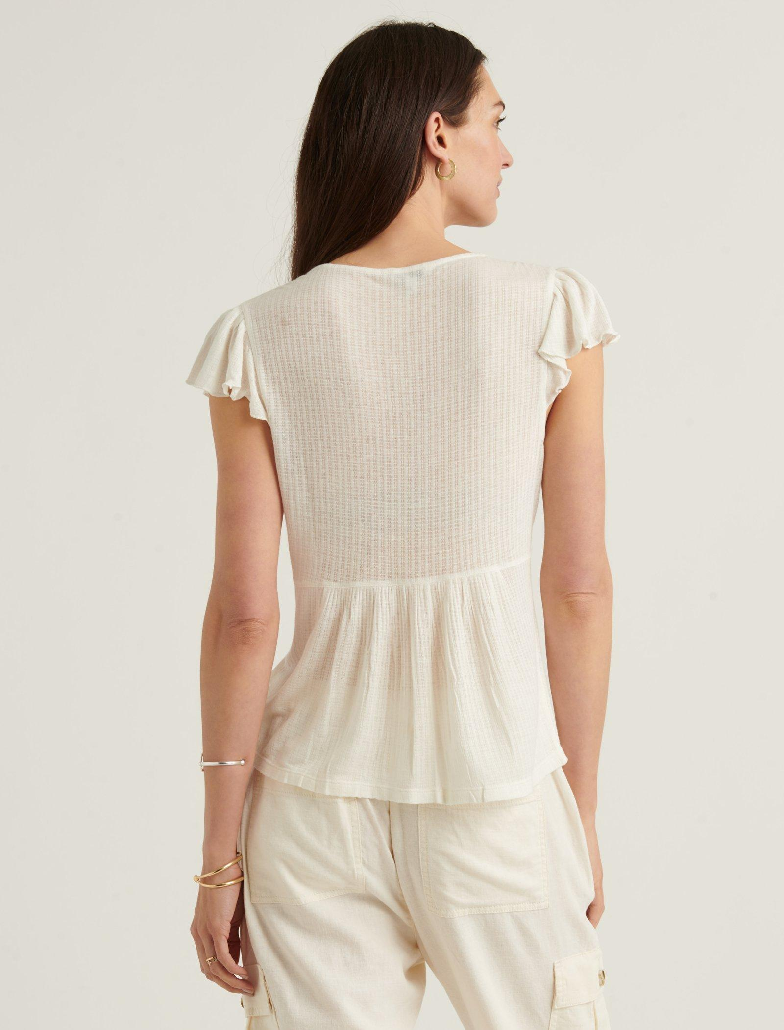 DROP NEEDLE V NECK EMBROIDERED TOP, image 3