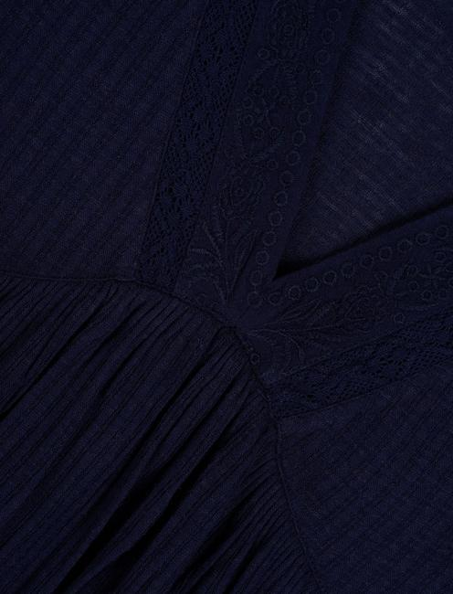 DROP NEEDLE V NECK EMBROIDERED TOP, AMERICAN NAVY