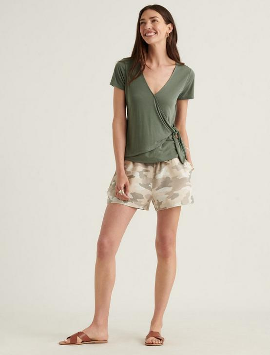SHORT SLEEVE SANDWASH WRAP TOP, OLIVE, productTileDesktop