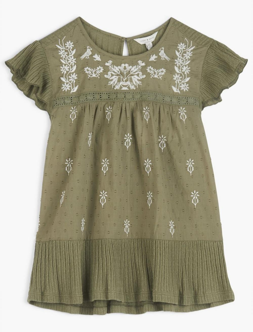 EMBROIDERED RUFFLE SLEEVE TOP, image 1