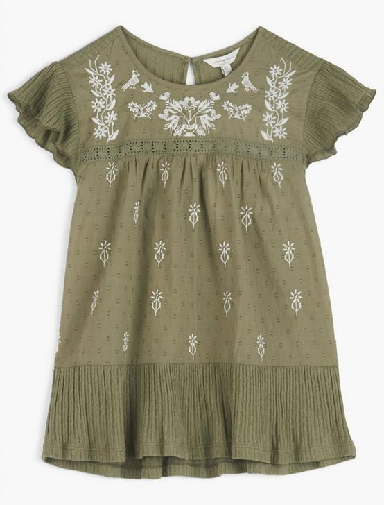 EMBROIDERED RUFFLE SLEEVE TOP, OLIVE MULTI, productTileDesktop