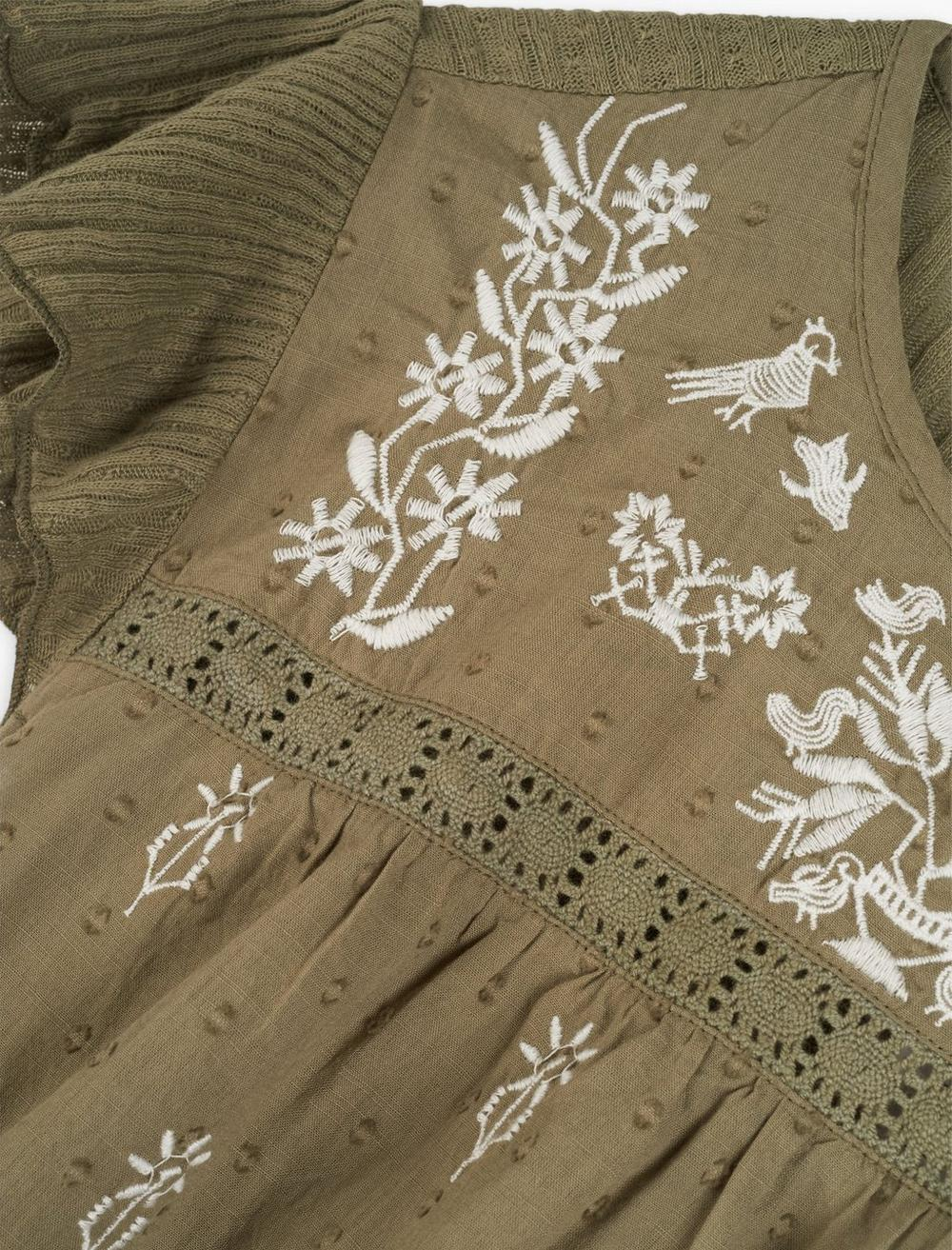 EMBROIDERED RUFFLE SLEEVE TOP, image 2