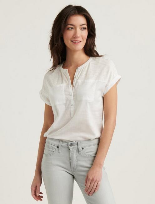 MIXED MEDIA HENLEY TOP, LUCKY WHITE