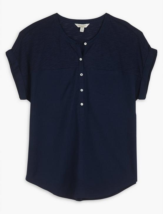 MIXED MEDIA HENLEY TOP, AMERICAN NAVY, productTileDesktop