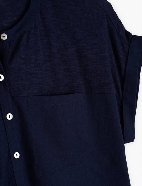 MIXED MEDIA HENLEY TOP, AMERICAN NAVY
