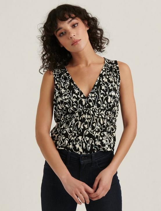 SLEEVELESS PEPLUM TOP, BLACK MULTI, productTileDesktop