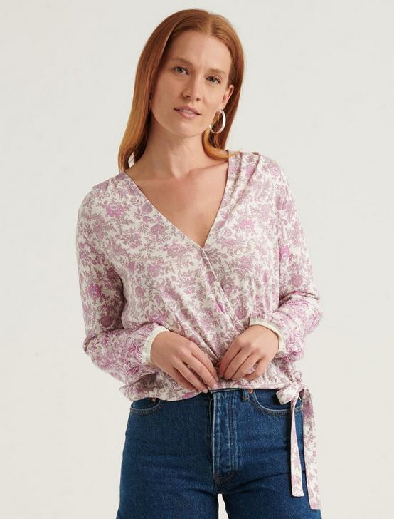 FLORAL BORDER WRAP TOP, WHITE MULTI, productTileDesktop