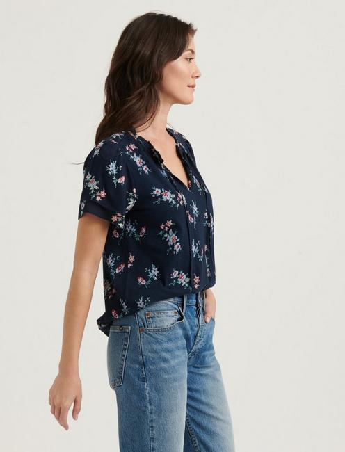 FLUTTER SLEEVE PRINTED TOP, NAVY MULTI