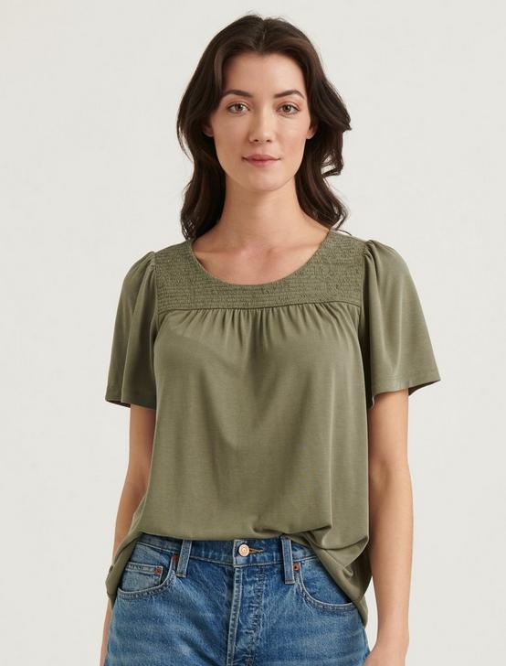 SAND WASH SMOCKED TOP, OLIVE, productTileDesktop