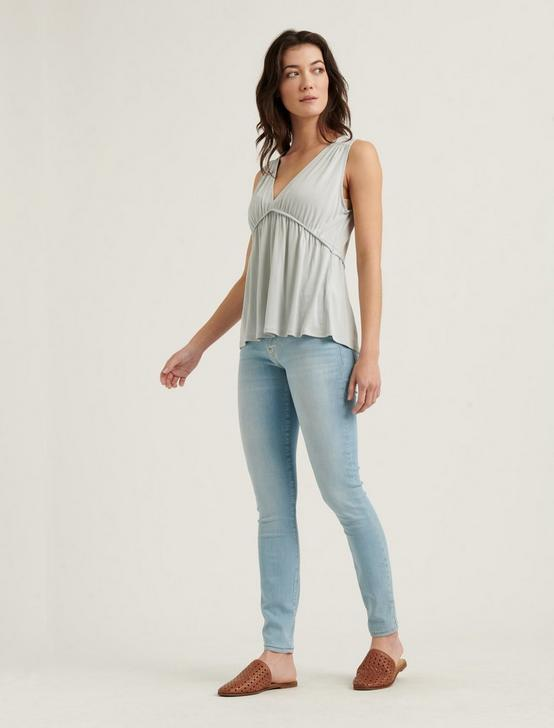 SLEEVELESS SANDWASH RUFFLE TOP, ICE BLUE, productTileDesktop
