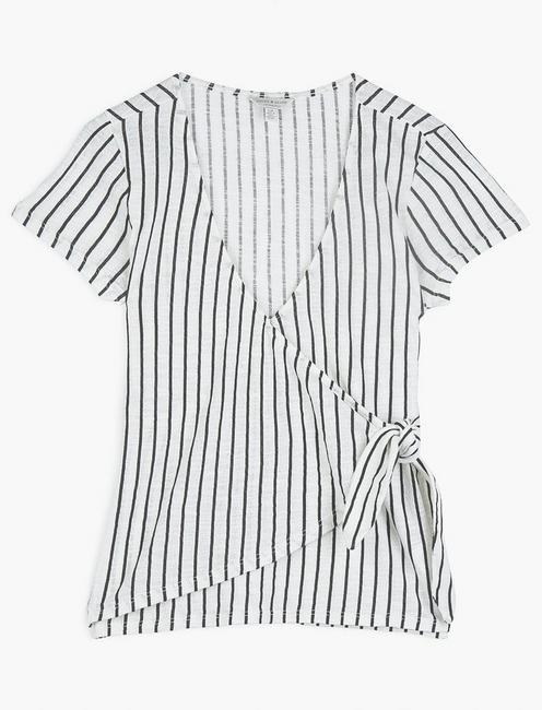 SIDE KNOTTED TOP, BLACK STRIPE