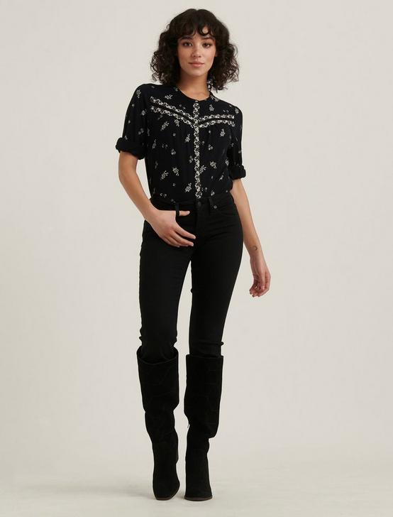 BORDER PRINT KNIT SHIRT, BLACK MULTI, productTileDesktop