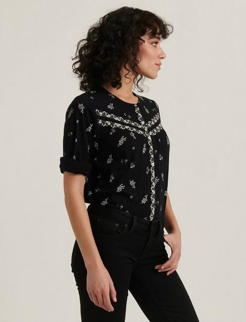 BORDER PRINT KNIT SHIRT, BLACK MULTI