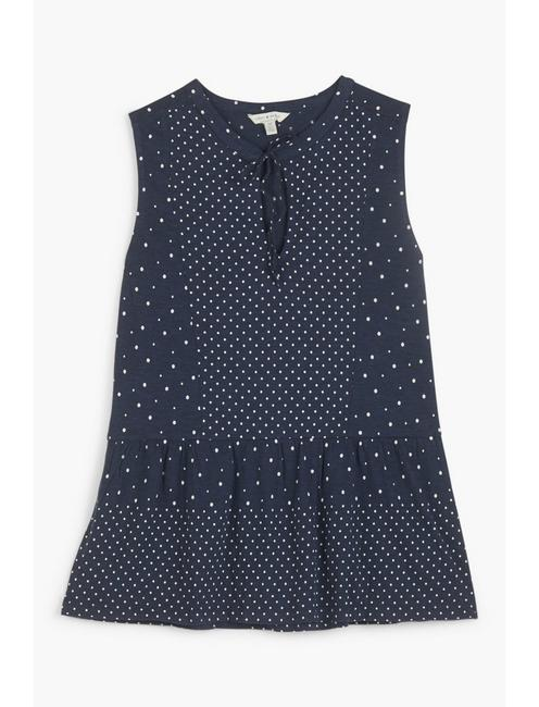 POLKA DOT PEPLUM TOP, BLUE MULTI