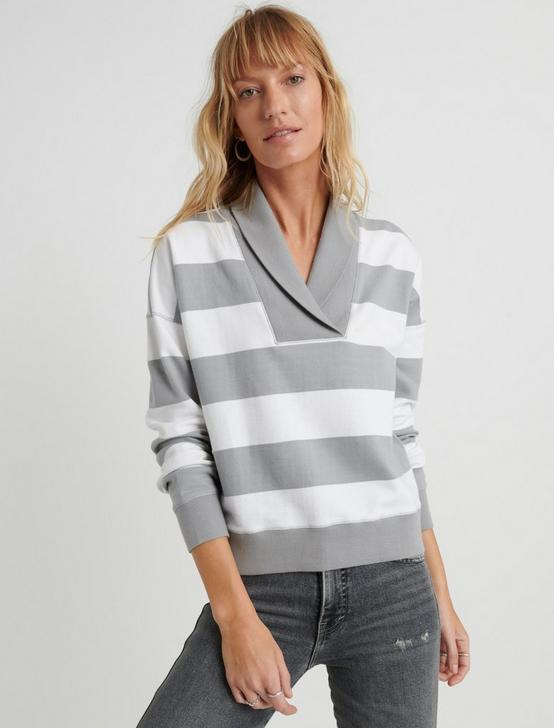 STRIPED SHAWL COLLAR PULLOVER, GREY STRIPE, productTileDesktop