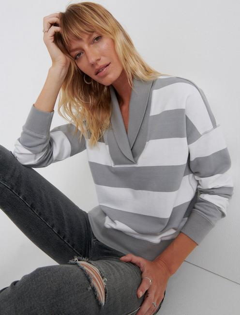 STRIPED SHAWL COLLAR PULLOVER, GREY STRIPE