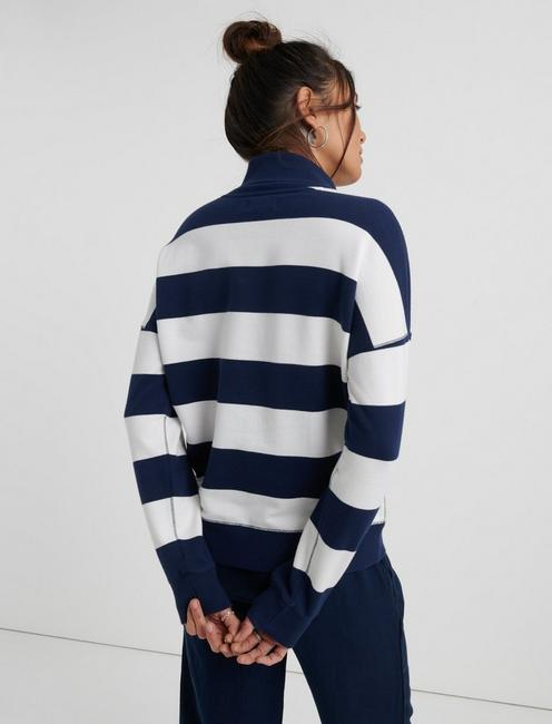 STRIPED SHAWL COLLAR PULLOVER, NAVY STRIPE