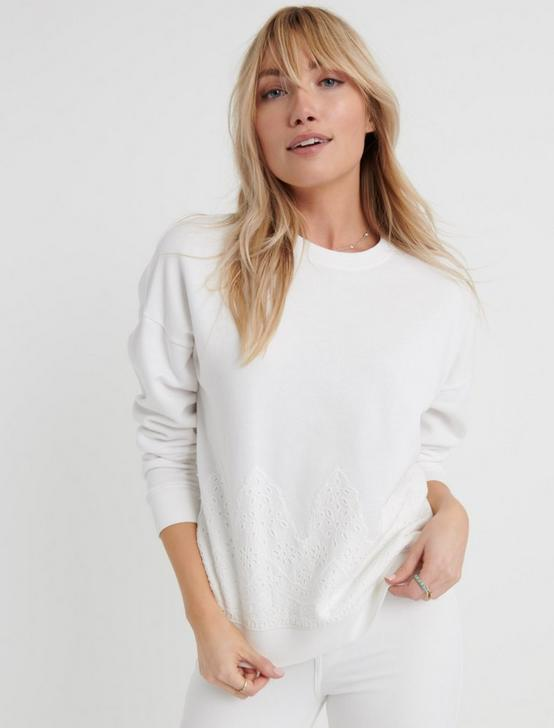 WHITE EYELET SWEATSHIRT, LUCKY WHITE, productTileDesktop